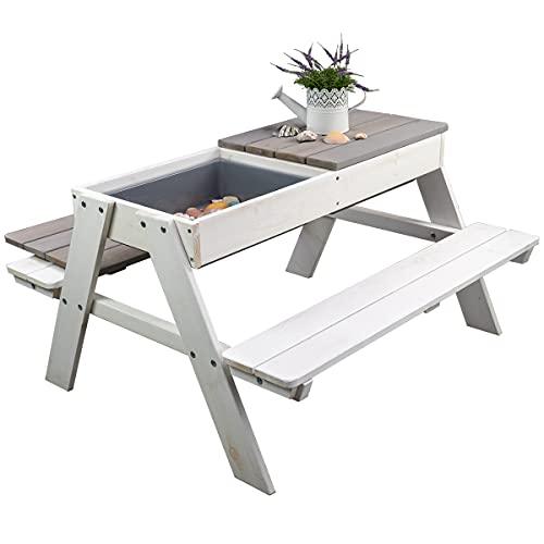 Meppi Sitzgruppe Rügen weiss/grau Kindersitzgruppe aus Holz für Outdoor/Indoor Einsatz