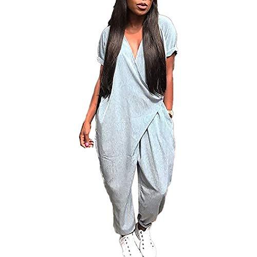 MenXu Women's Casual V Neck Short Sleeve Harem Jumpsuit Romper Solid Color Baggy Loose Pants with Pockets Grey