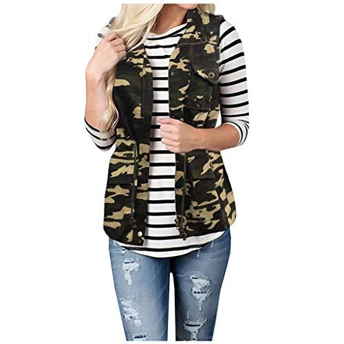 Damen Weste Camouflage Outdoorweste Taschen ÄRmellos Jacke mit Revers,Kanpola Herbst Winter Sport Cargo Weste ReißVerschluss BeiläUfige ÜBergangsjacke Street Style