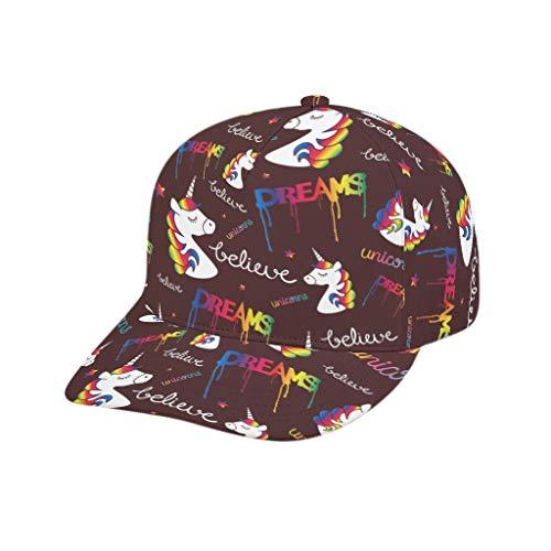 AXGM Damen Herren Kappe Einhorn mit Regenbogen Haar Mütze 3D Print Sports Hut Trucker Cap Verstellbar Basecap für Tennis Golf Reisen White OneSize