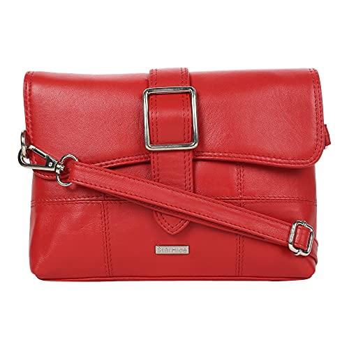 STARHIDE Bolso de hombro cruzado de cuero para mujer con cierre de hebilla frontal Característica 5625, color Rojo, talla Talla Unica