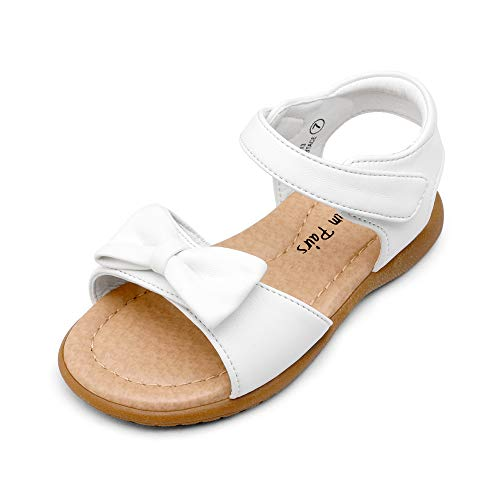 DREAM PAIRS KSD213 Toddler Girls Sandals Fashion Bow Summer Shoes White 4 Toddler