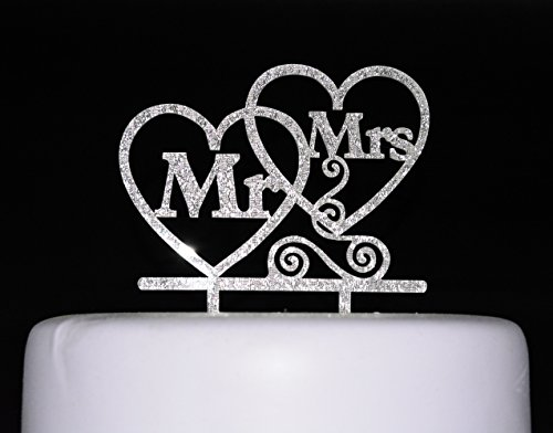 Qttier Bride and Groom Cake Topper, Mr and Mrs Sign, Wedding Decorations-Silver