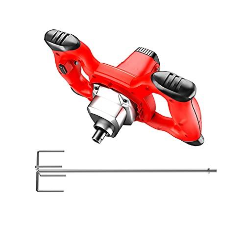 SUNFUSHOU Mezclador concreto 2000W, Mezclador Pintura mortero eléctrico Mezclador Cemento Mano Antideslizante 6 velocidades Paleta mezcladora 60cm para Mezclar alimentación Yeso Pintura,Red-Type E