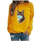 BOIYI Camiseta Manga Larga Mujer Jersey con Estampado Animal de Gato para Mujer Camisa Casual Camiseta termica Mujer Invierno Sudaderas Mujer sin Capucha Tops Camisas Blusa