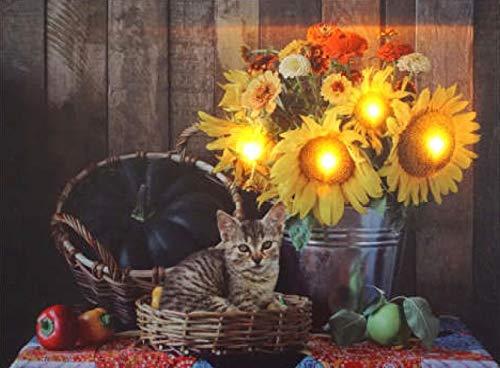 Wandbild mit Beleuchtung <> Sonnenblumen mit LED <> Katze im Körbchen <> Riesenkürbis in der Kiepe <> zeitlose Dekoration als Bild