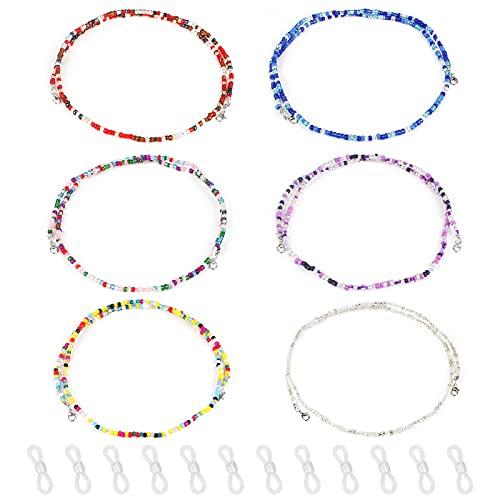 Bigxin 6Pcs Correa Gafas Cordon Gafas Cadena de Gafas, Cordones para Gafas con 12Pcs Gomas para Gafas, Cuerda de Gafas Antideslizante para Mujer Hombre Niño (6 Colores Cadena+12 Extremos de Cadena)