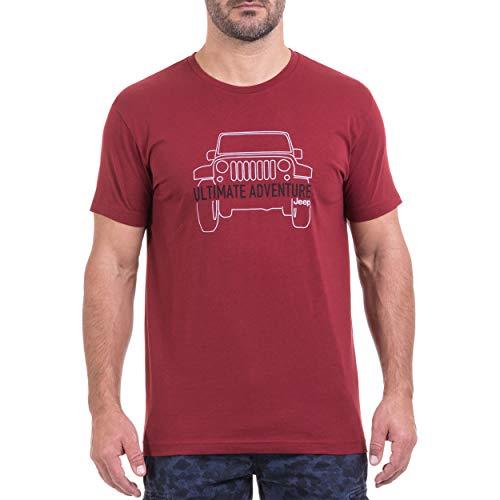 Jeep T-Shirt pour Homme M Bordeaux