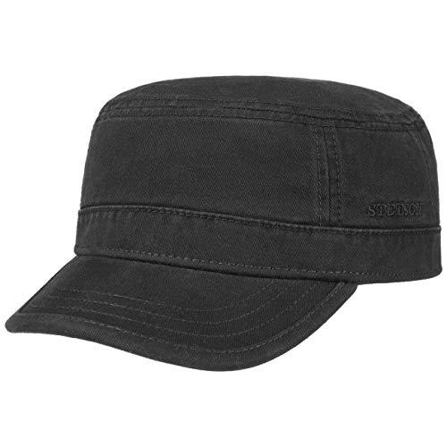 Stetson Gosper Army Cap Damen/Herren - Urban Armycap aus Baumwolle - Militärcap mit UV-Schutz 40 - Mütze Militär Sommer/Winter schwarz S (54-55 cm)