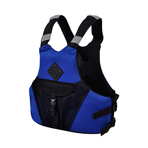 JYMEI Jackets de Vida Adultos, Natación Auxiliar Vida Vida Unisex Reflexivo Ajustable Snorkel Snorkel Chaleco para Nadar Kayak Paddle Boarding,Azul,S
