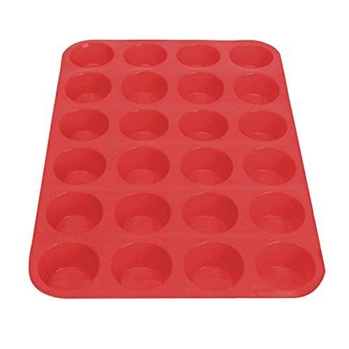 24 Mini moules Silicone Muffins Antiadhésif Moule à Muffin Moules pour muffins, brownies, cupcakes, gâteaux, pudding Rouge 33,5 x 22,5 x 2,5 cm Rot