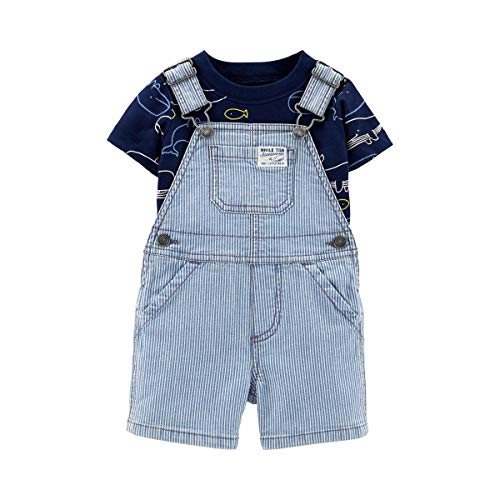 2-tlg. Set Jeans-Latzhose kurz und T-Shirt Wale