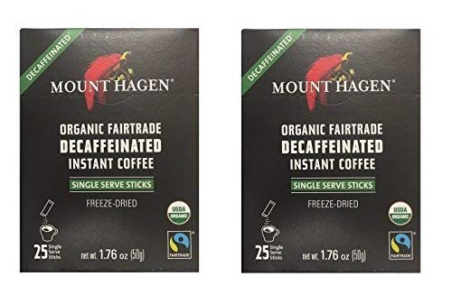 Mount Hagen Organic Decaffeinated Instant Coffee Single Serve 25 Sticks (Pack of 2)