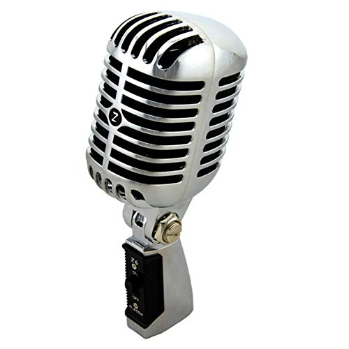 MJTCJY Micrófono clásico Vintage con Cable Profesional Bobina de Movimiento dinámico Mike Deluxe Metal Vocal Estilo Antiguo Micrófono Ktv (Color : Silver)