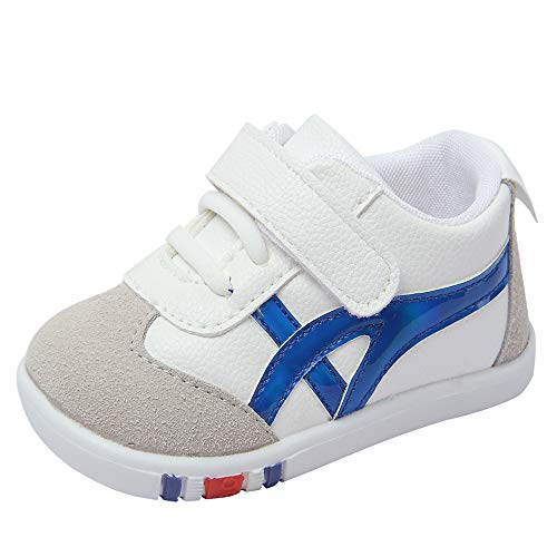 Kuner Baby Girls Boys Cotton Breathable Rubber Sole Non-Slip Sneakers First Walkers Shoes (4 Toddler, White+Blue)