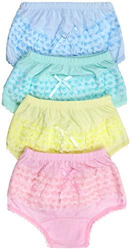 ToBeInStyle Girl's Pack of 4 Cotton Ruffle Hem Panties - Ruffle Back - Size 1