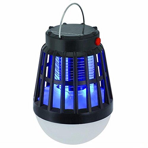 GUORZOM Solaire Alimenté Buzz UV Lampe Lumière Mosquito Zapper Tueur Aucune Radiation Mute Mosquito Lampe Nuit Lumière Pour Camping En Plein Air Tente De Pêche Mute Noir, 2Pack