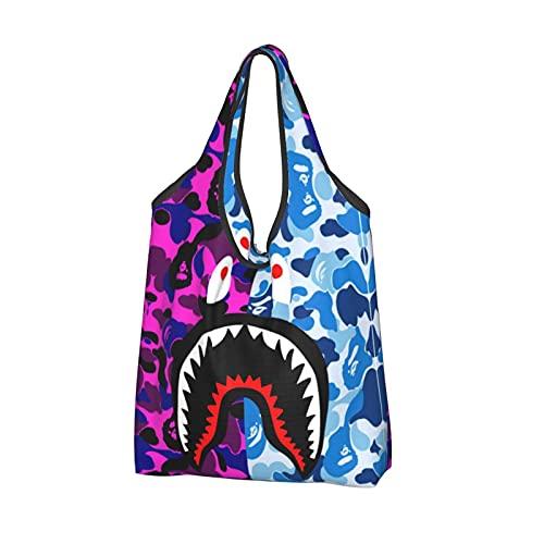 Bolsa de compras reutilizable bolsa de asas plegable bolsa de gran capacidad, 8 Bape Camo Shark, Talla única