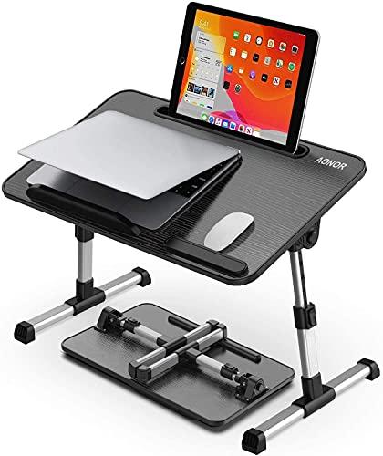 Mesa de mesa para ordenador portátil, con altura ajustable y patas plegables, soporte portátil para computadora portátil, iPad, mesa de madera para sofá/sofá, aplicable para escritura/dibujo