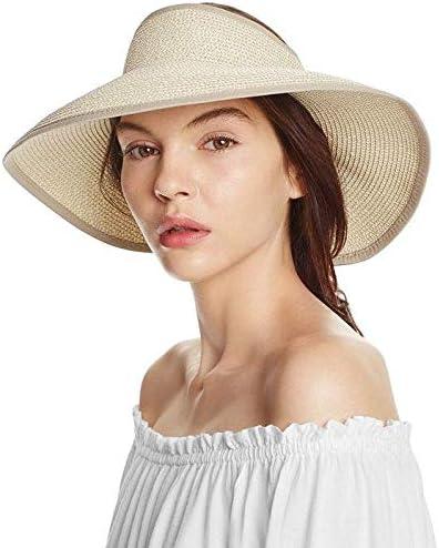 Sombre Hugestore con dise/ño plegable y de paja para mujeres ideal para playa marr/ón marr/ón