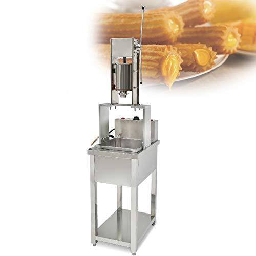 JFF Máquina para Hacer Churros Vertical Comercial De 5L Español con Freidora Eléctrica De 20L, Diseño Ergonómico, Sin Enchufe