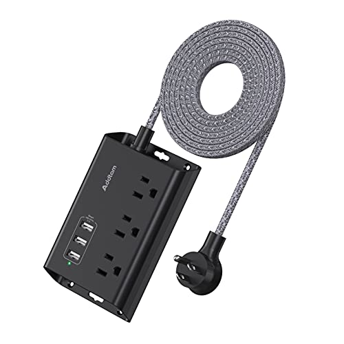 Power Strip with USB - Addtam ETL Certificate Flat Plug Extension Cord with 3 USB Ports, 5 Feet Braided Cord, Desktop Small Travel Power Strip for Cruise Ship, Home, Office Black