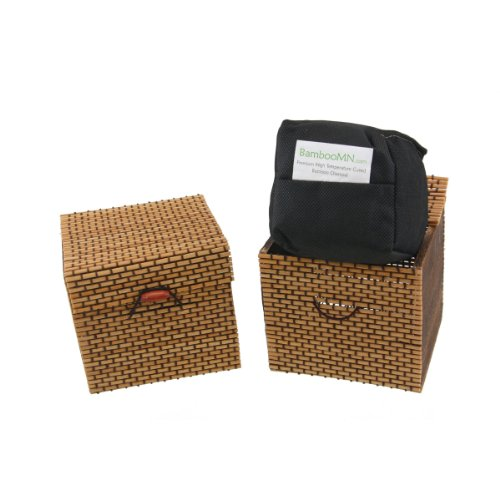 Check Out This BambooMN Brand - Granulated Bamboo Charcoal Odor Absorber in Decorative 4 Box, Brown...