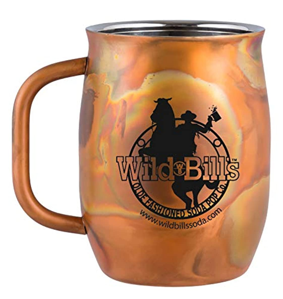 Wild Bill's Soda Insulated, Double Wall, Vacuum Sealed, Stainless Steel Mug - Rustic, Antique Copper Finish - 20 OZ, 2 Mugs/Case