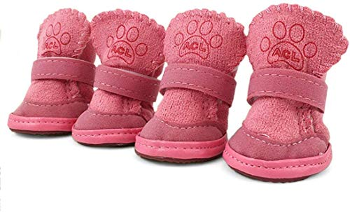 Dog Boots Paw Protector, Anti-Slip Dog Shoes,Dog Australia Boots Pet Antiskid Shoes Winter Warm Skidproof Sneakers, for Small Dog (M, Pink)