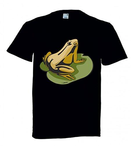 T-Shirt Frosch auf Seeblatt Teich Frösche Quark in Schwarz für Herren- Damen- Kinder