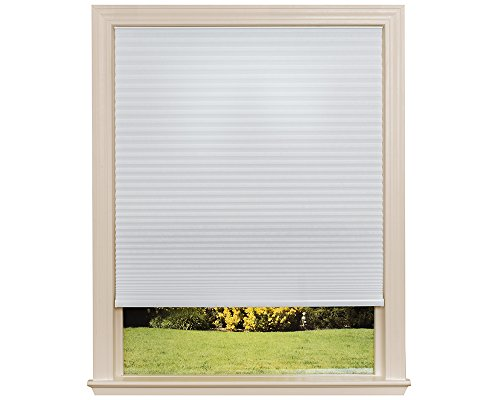 Easy Lift Trim-at-Home Cordless Cellular Light Filtering Fabric Shade White, 30 in x 64 in, (Fits windows 19'- 30')