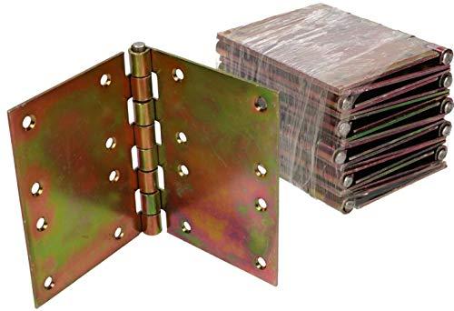 KOTARBAU® 10 Stück Türscharniere 100 mm x 150 mm Gerollt Verzinkt Gelb Kantige Scharniere Möbelband Türband Kistenband Schatullen Schrankscharniere