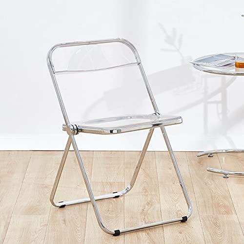 Folding chair Moderner Minimalistischer Haushaltsstuhl,Ins-Stil Transparenter Stuhl,Acryl-Klappstuhl,7 Farben,46 * 47 * 74cm (Color : Transparent)