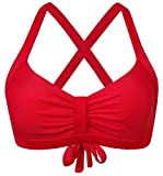 Balasami Women's Retro Button Down Gingham Printed Ajustable Straps Cross Back Vintage Swimsuit Top Red