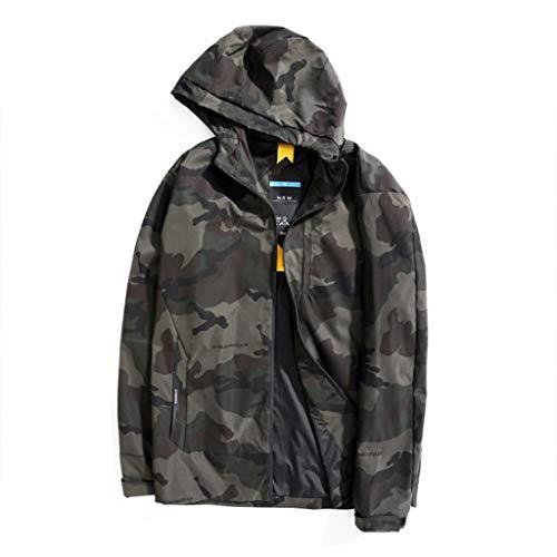 QJY Heren lichtgewicht Pilot jas voorzijde Rits regenjas Windproof Hooded Jacket (normale grootte en groot en hoog) Multi-colored-XXXXL