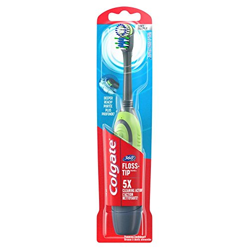 Colgate 360 Floss-Tip Power Toothbrush, Soft, 1 Count (Assorted colors)