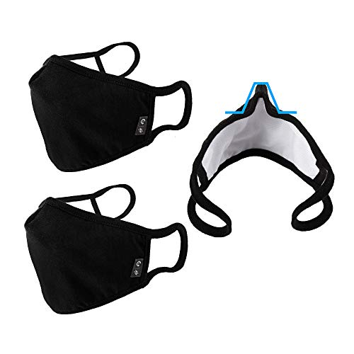 WITHMOONS Cloth Face Mask Washable Reusable 3 Ply Mouth Shield Breathable with Nose Wire 3PACK EU0304
