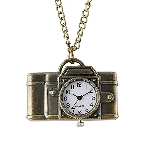 XXCHUIJU Reloj de Bolsillo de Cuarzo - Forma única de cámara Colgante Colgante de Cuarzo Bolsillo Reloj Vintage Bronce Moda Colgante Collar Relojes para fotógrafos (Color : 1, Size : Thin Chain 78cm)