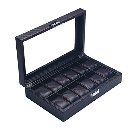 The perseids Carbon Fiber Effect PU Leder Kohlefaser Uhrenboxen,Holz Uhrenbox, mechanische 6 Uhr Displaybox,Organizer Storage Case, Sammlung Aufbewahrungsbox-A (12 Uhren)