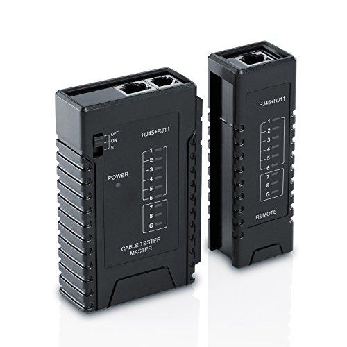 CSL Netzwerk Kabeltester für RJ45 RJ11-Kabel - Patchkabel-Tester Leitungstester - LAN Network Cable Tester - Zwei Verschiedene Geschwindigkeiten - Wahlschalter On Off - schwarz