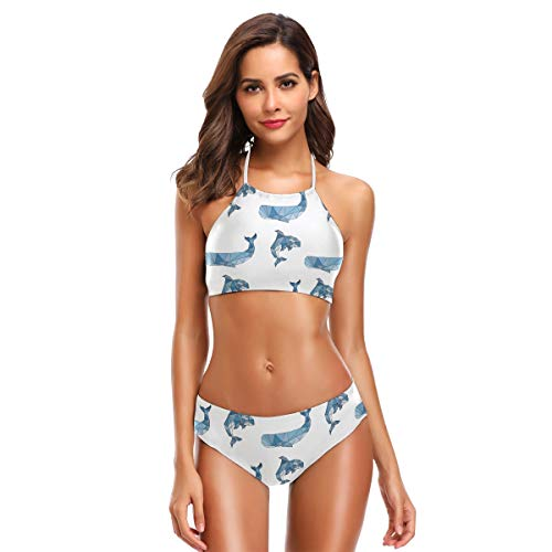 SUGARHE Damen Badebekleidung,Wal Grampus Orca Origami Lowpolygonal Style,Mädchen Bikini Set Split(XXL)