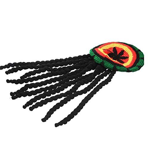 Aisoway Dreadlocks Perücke Hut Reggae Jamaican Stil Rasta Hut Gewirkte Gestrickte Mütze Cap Langes Schwarzes Haar Kostüm