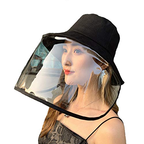 Zaocz New PPE Full Face Safety Face Shields Protective Cap for Men and Women Anti Saliva Isolation Full Shield Hat (A-Black)