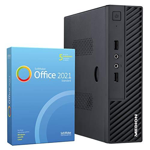 MEDION S23002 Mini PC (Intel Celeron J4105, 512GB SSD, 8GB DDR4 RAM, WLAN, USB 3.2, VESA, Win 10 Home)