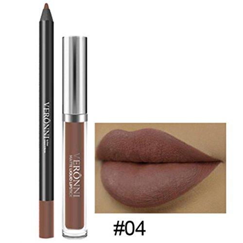Fulltime Longue durée de rouge à lèvres imperméable mat liquide brillant LIP liner cosmétiques ensemble (D)