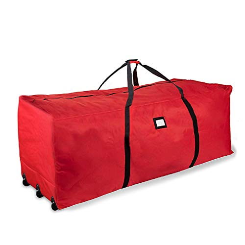 ProPik Holiday Rolling Tree Storage Bag, Extra Large Heavy Duty Storage Container, 28' H X 16.5' W X 60' L with Wheels & Handles Fits Up to 9 Foot Tall Disassembled Trees 600D Oxford (Red)