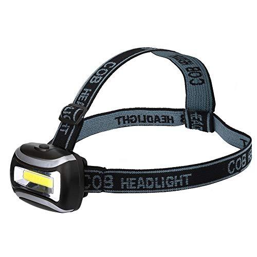 VGEBY1 Linterna Frontal Tipo COB, 3 Modos de iluminación IP65 a Prueba de Agua con Pilas, Manos Libres, Linterna con luz Fuerte(Negro)