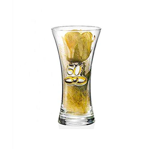 Vaso 50° Anniversario matrimonio | Cristallo e Argento | Altezza 25 cm | 2R argenti
