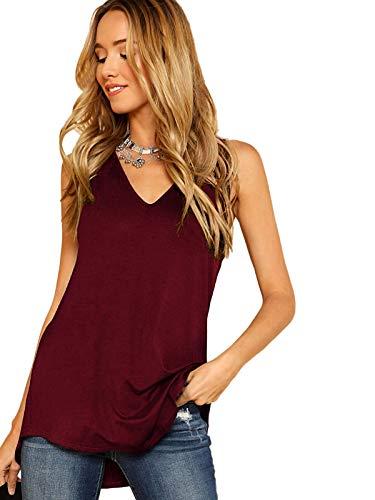 Soly Hux - Camiseta sin mangas para mujer, cuello en V, estilo casual, largo y unicolor, camiseta de tirantes granate M