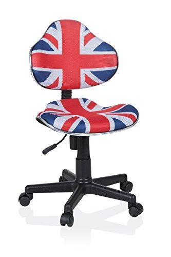 hjh OFFICE 670932 Kinder Schreibtischstuhl KIDDY GTI-2 Stoff Blau/Rot ergonomischer Jugenddrehstuhl höhenverstellbar